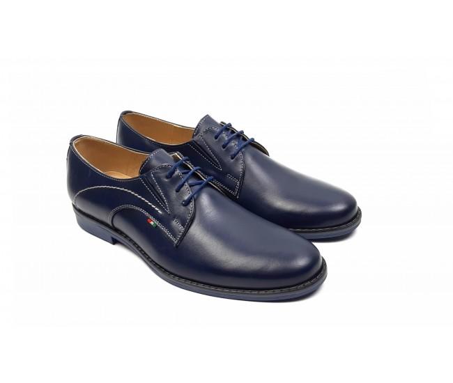 Marimea 42, 44 Pantofi barbati eleganti din piele naturala, Massimo bleumarin, Dyany Shoes - 925BL