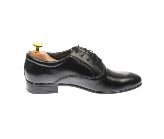 Oferta marimea 39 - Pantofi barbatesti, eleganti, din piele naturala, negru - LMODN