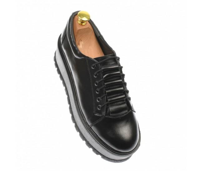 Oferta marimea 39 - Pantofi dama, cu  talpa groasa, casual, 4 cm, negru - LP502N