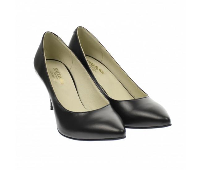Pantofi stiletto dama, negri, din piele naturala box , toc 8 cm - NA63N