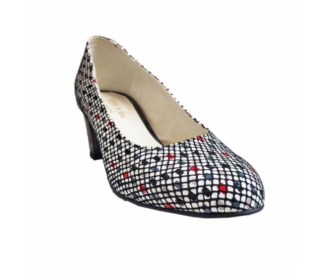 Pantofi eleganti dama, negri cu puncte multicolore, din piele naturala box, toc 5 cm - NA74NA