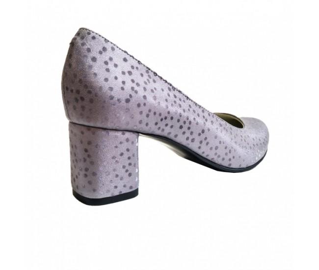 Pantofi eleganti dama, violet, din piele naturala box, toc 5 cm - NA74VIOLET