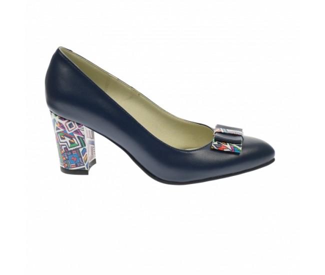 Pantofi dama din piele naturala, bleumarin,  toc 7cm - NAA41BLM