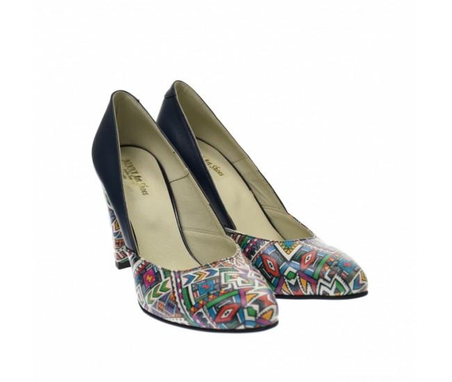 Pantofi dama eleganti, din piele naturala bleumarin cu imprimeu, toc 7 cm - NAA8BOXCOLOR