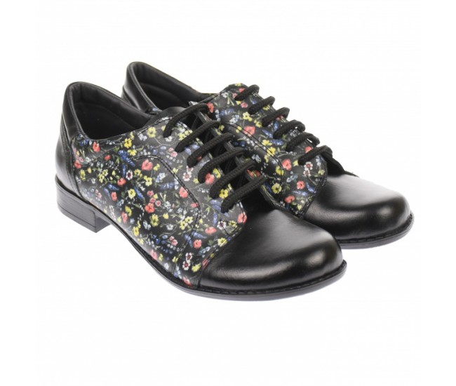 Pantofi dama, casual, din piele naturala , negri cu imprimeu floral - P53NFLOR