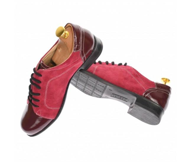 Pantofi dama casual, din piele naturala intorsa si lac, culoare visiniu - P53VELV