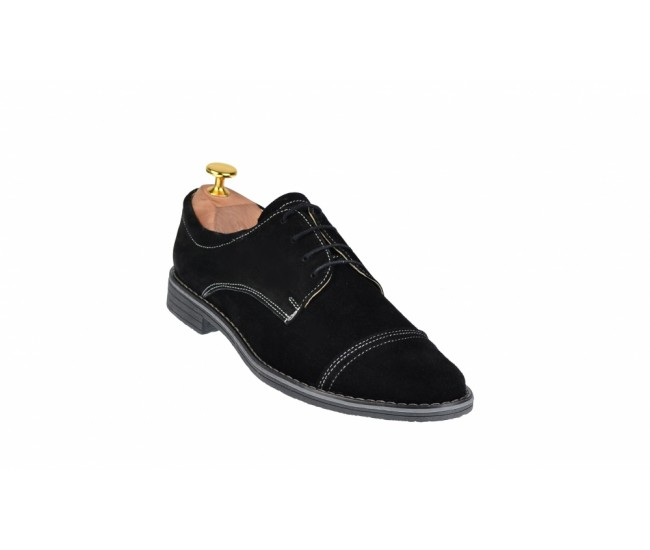 Pantofi negri casual barbatesti din piele intoarsa cu siret - PAS2N