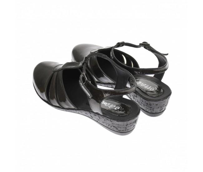 Oferta marimea 41-  Sandale dama, din piele naturala lacuita, culoare visiniu inchis sidefat - LS6VISLAC