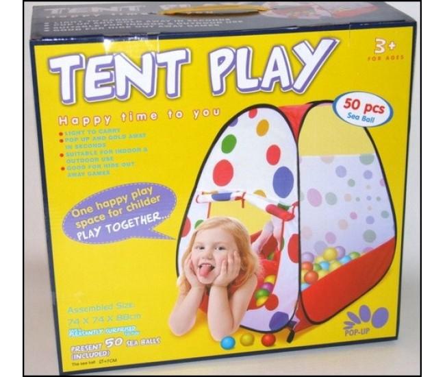 Cort de joaca pentru copii cu 50 de bile de jucarie incluse