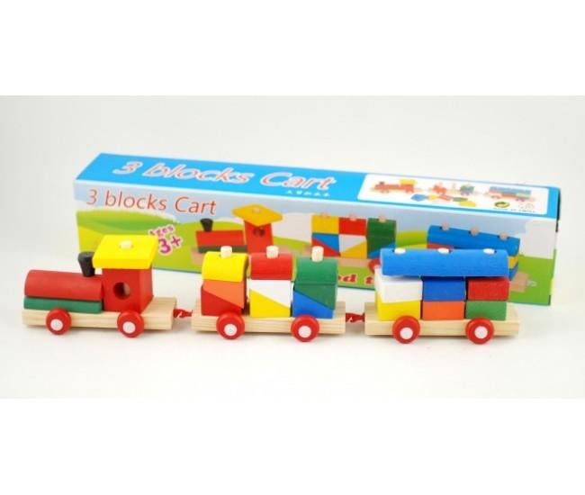 Jucarie creativa din lemn, trenulet cu vagoane si forme geometrice 1114B