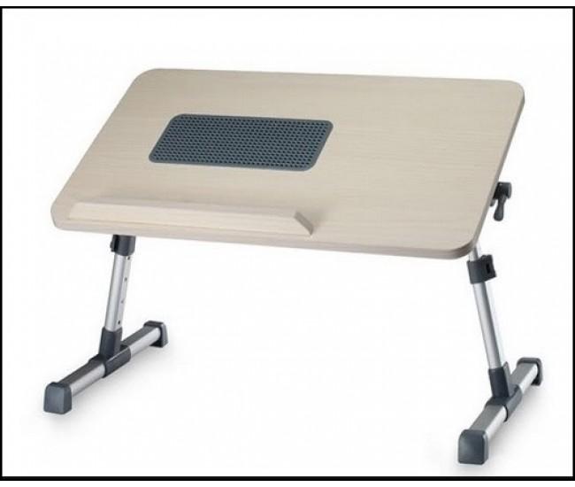 Masa laptop din lemn cu ventilator si picioare din aluminiu