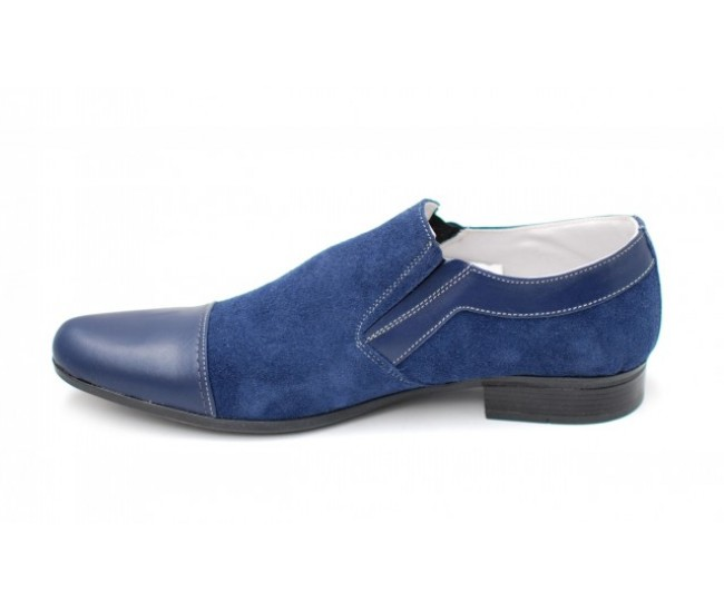 Pantofi bleumarin barbati casual - eleganti din piele naturala - Made in Romania