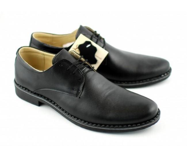 Pantofi negri barbati casual - eleganti din piele naturala EZELBOX