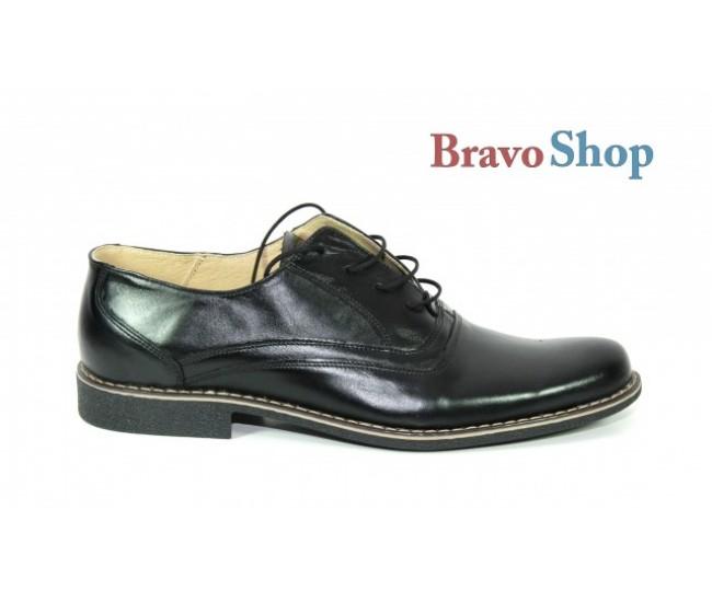 Pantofi negri barbati casual-eleganti din piele naturala - Made in Romania LUX76