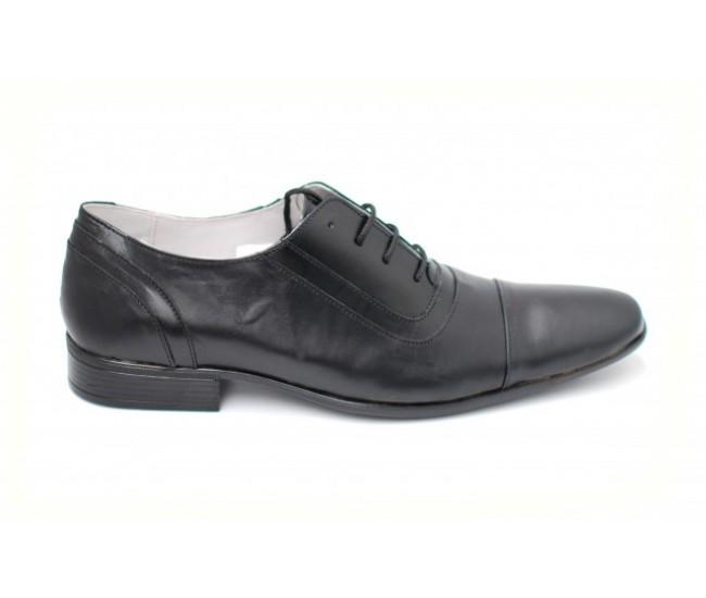 Pantofi negri eleganti barbatesti din piele naturala cu siret
