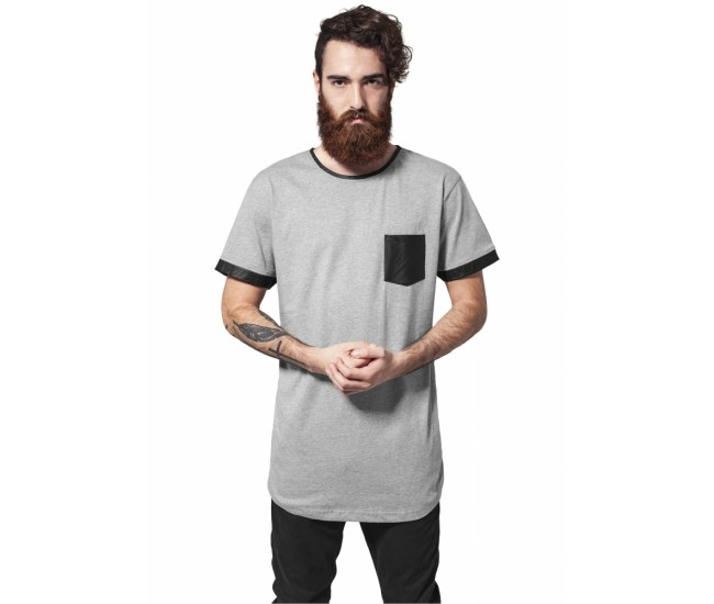 Long Shaped Leather Imitation Tee