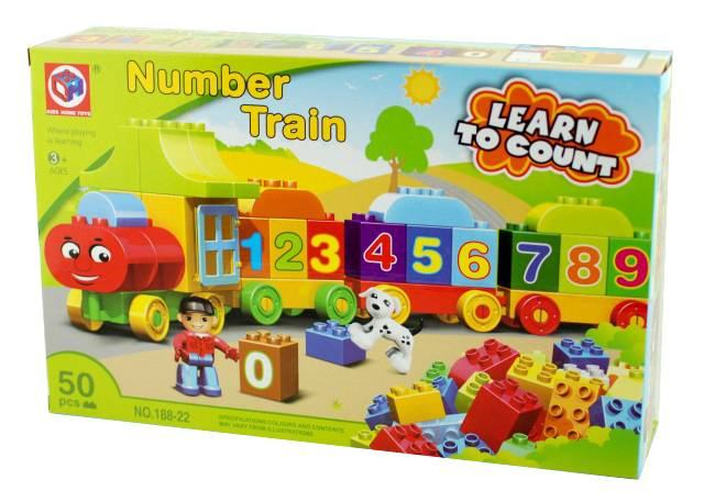 Jucarie constructiva cu Trenulet si numere - Joc compatibil lego cu 50 piese