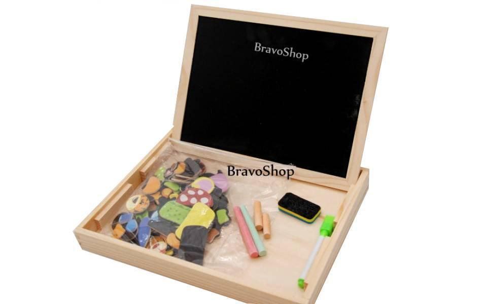 Tabla din lemn cu 2 fete (Marker si Creta) cu forme puzzle - Invatare distractiva!