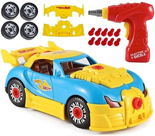 Set asamblat masinuta cu bormasina electrica, sunete si lumini - jucarie pentru copii