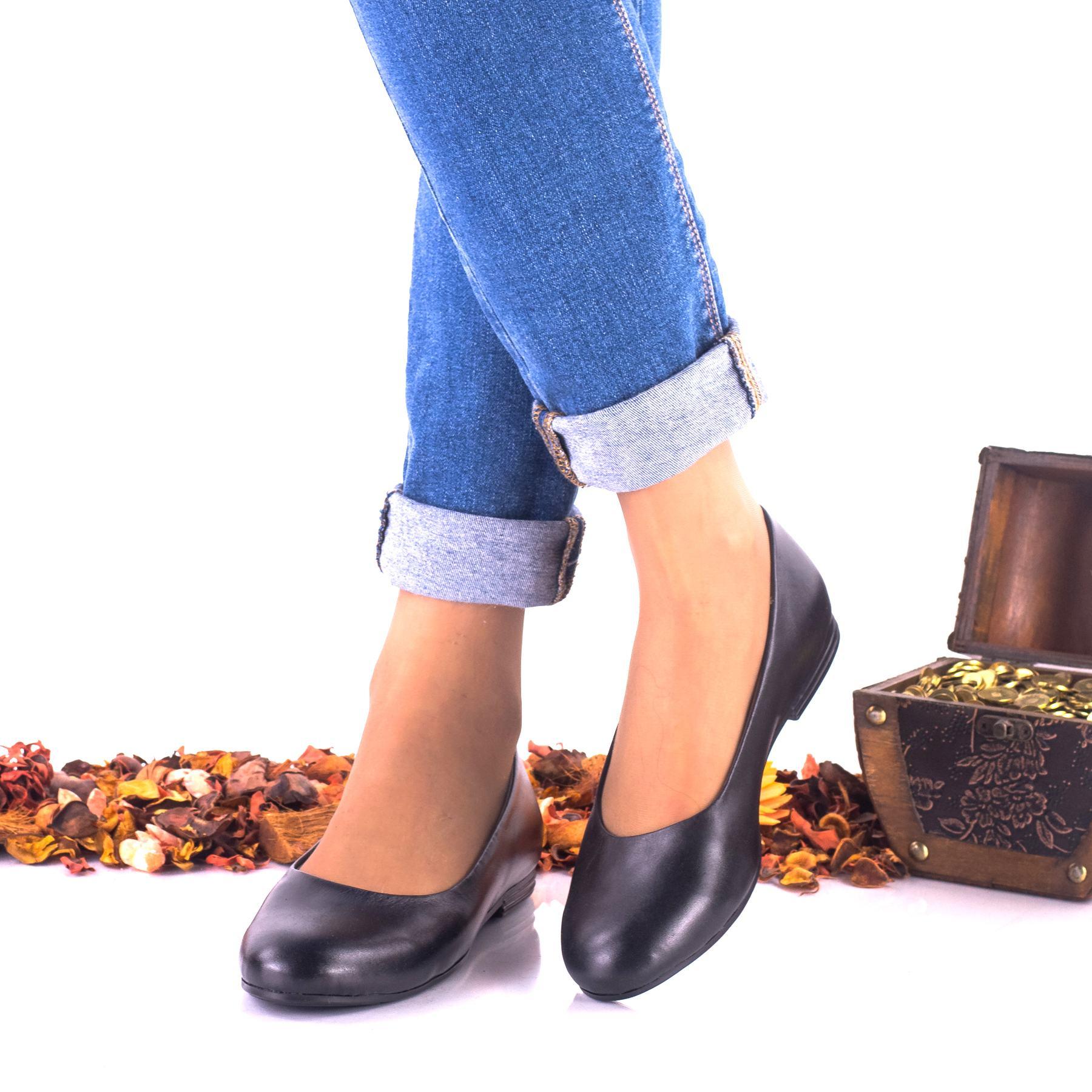 Pantofi dama casual negri din piele naturala - NA137