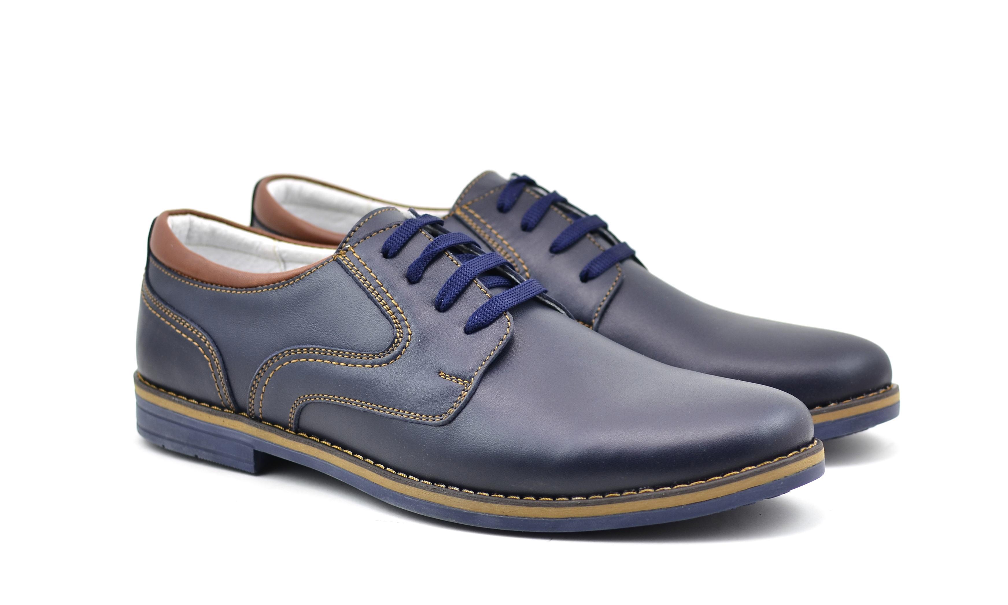Pantofi barbati casual din piele naturala - DANY ALBASTRU