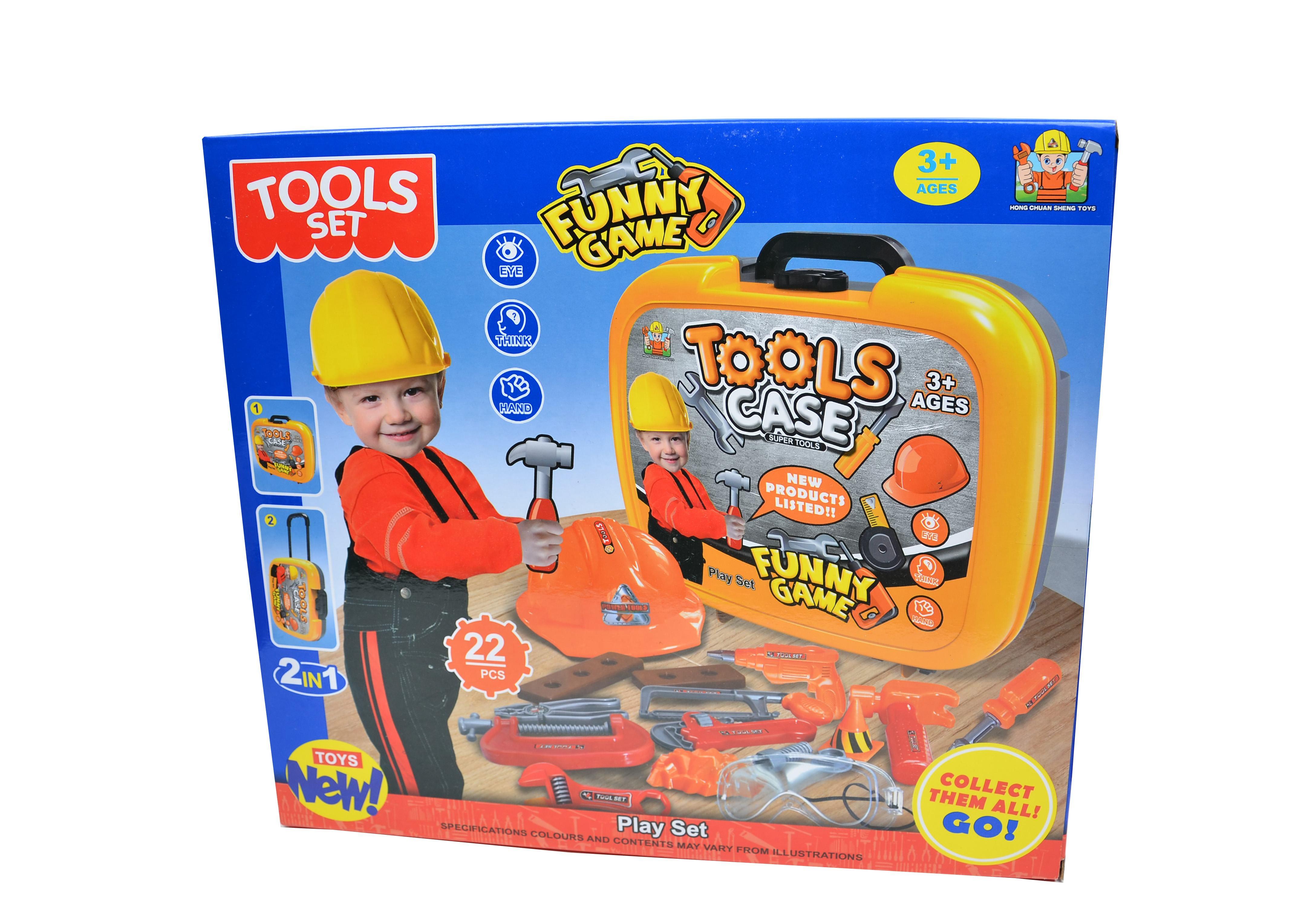 Set de scule - unelte si accesorii pentru copii cu casca si ochelari de protectie - Manny Tools Set