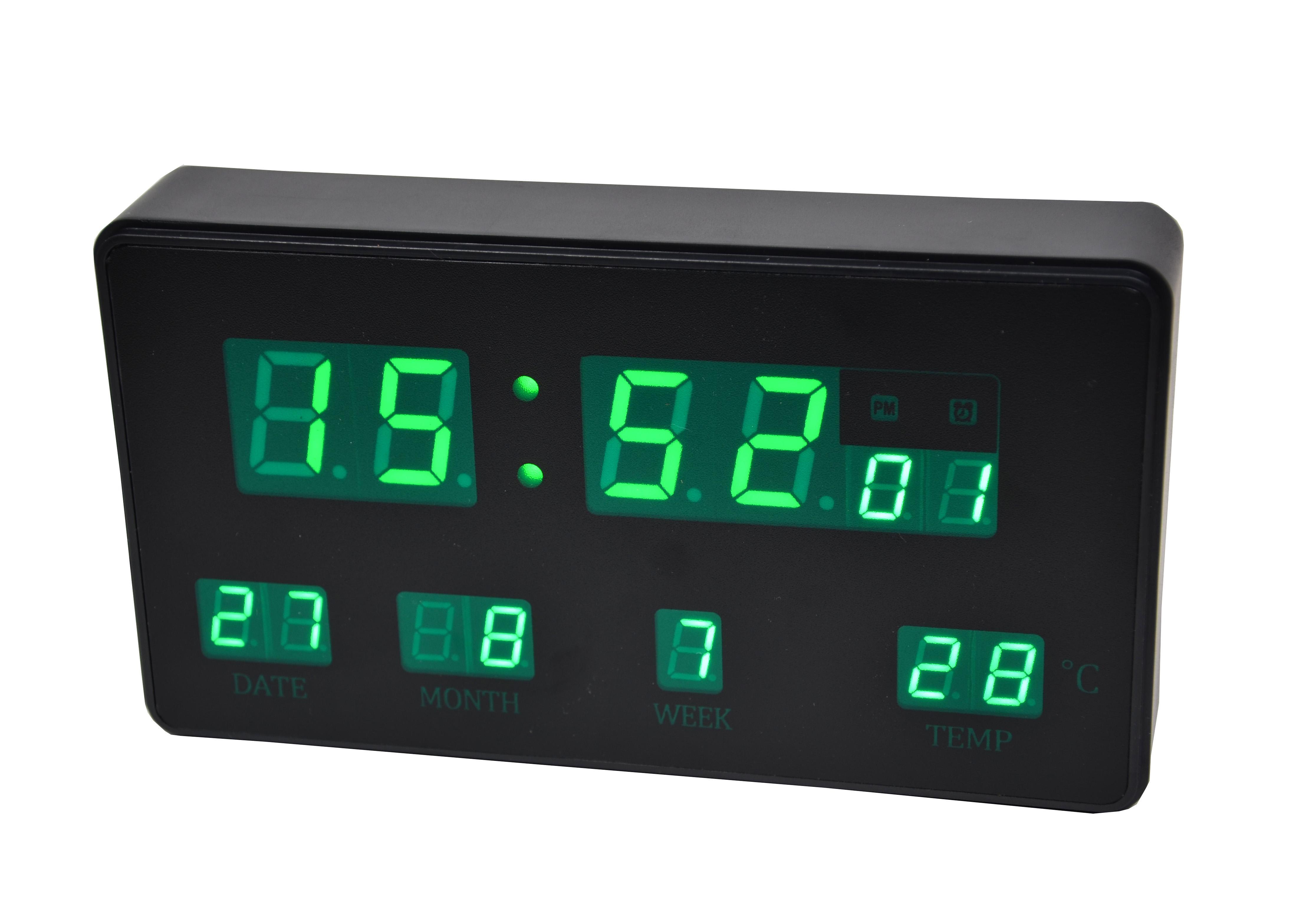 Ceas de birou LED negru cu afisare zi, luna , saptamana, temperatura - JH2158