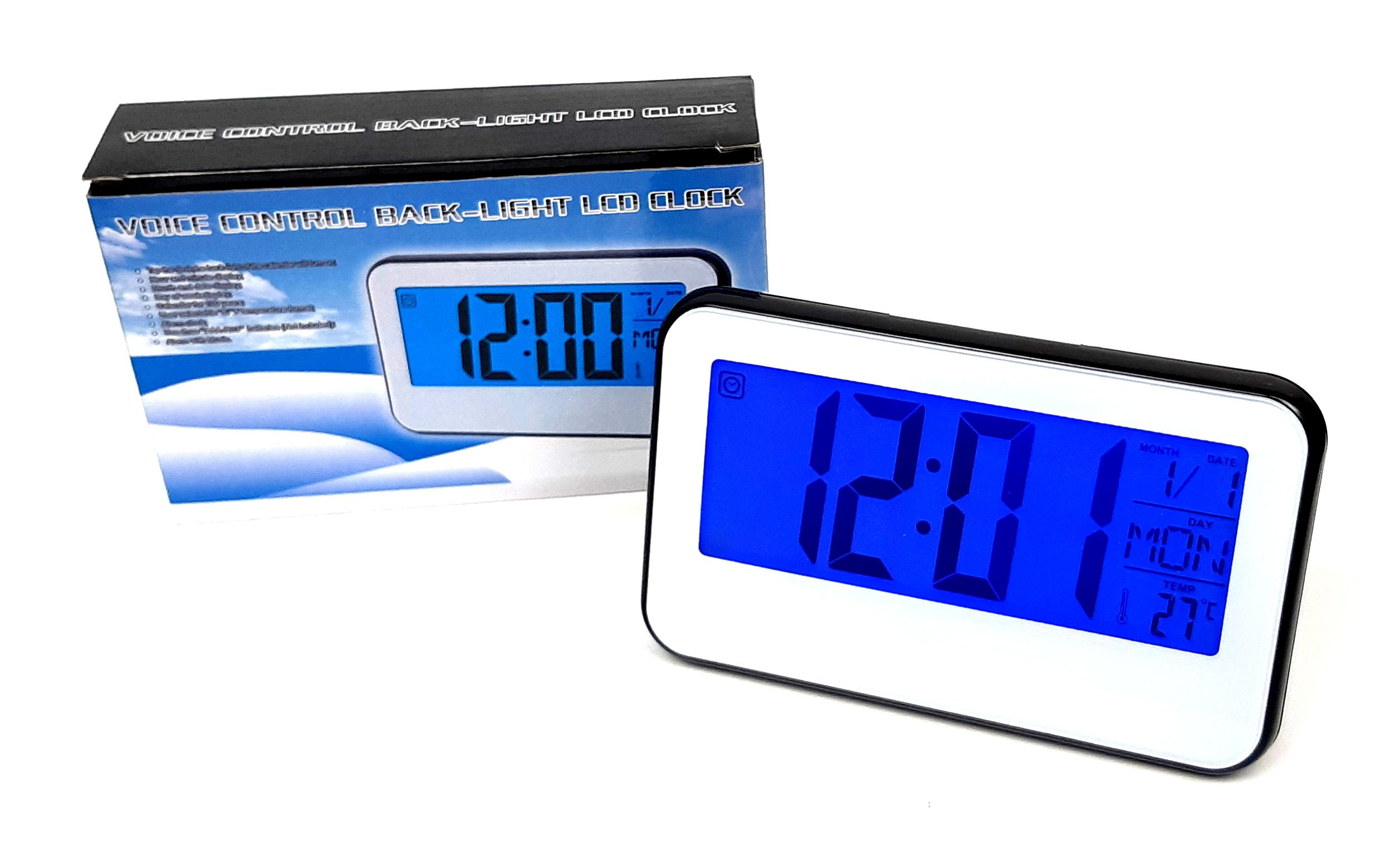 Ceas de birou cu lumina LED si temperatura, (Sound control) -