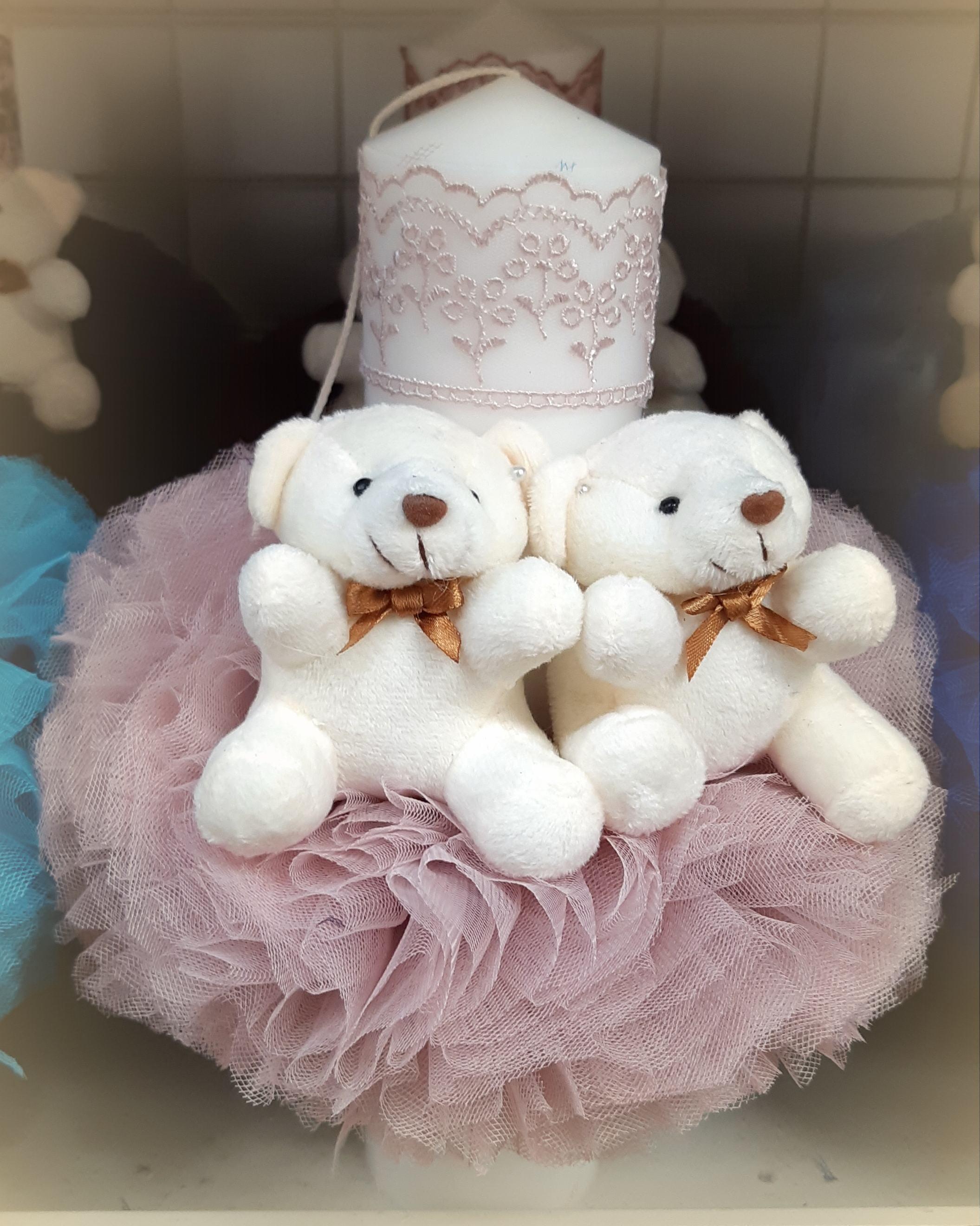 Lumanare pentru botezul fetitelor, roz prafuit - ROZP2451