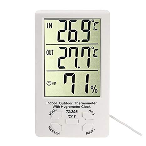 Statie meteo cu ceas, termometru interior si exterior, umiditate LCD TA298
