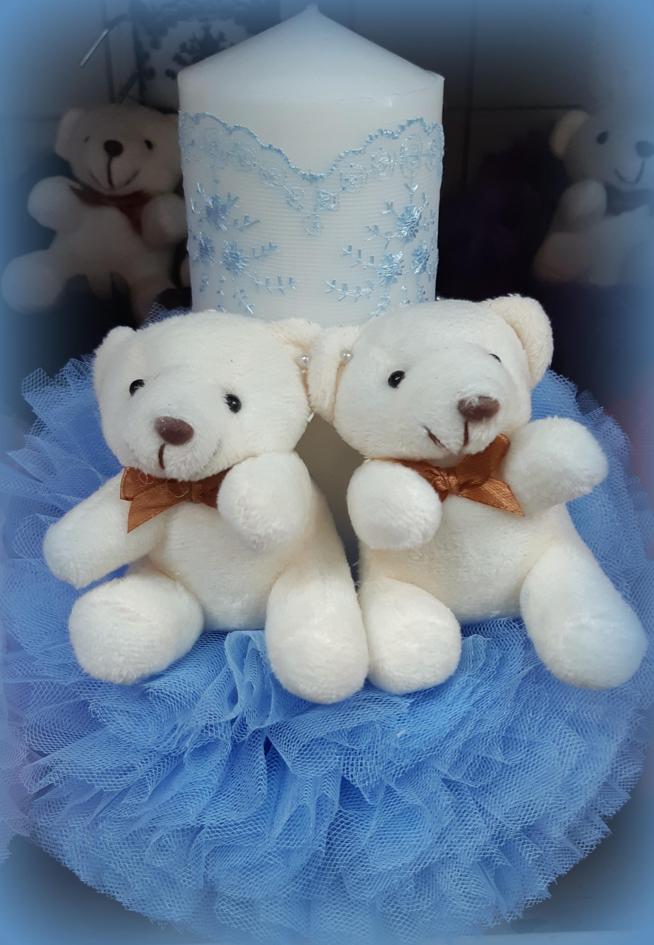 Lumanare de botez pentru fetite si baieti - ALBASTRU2461