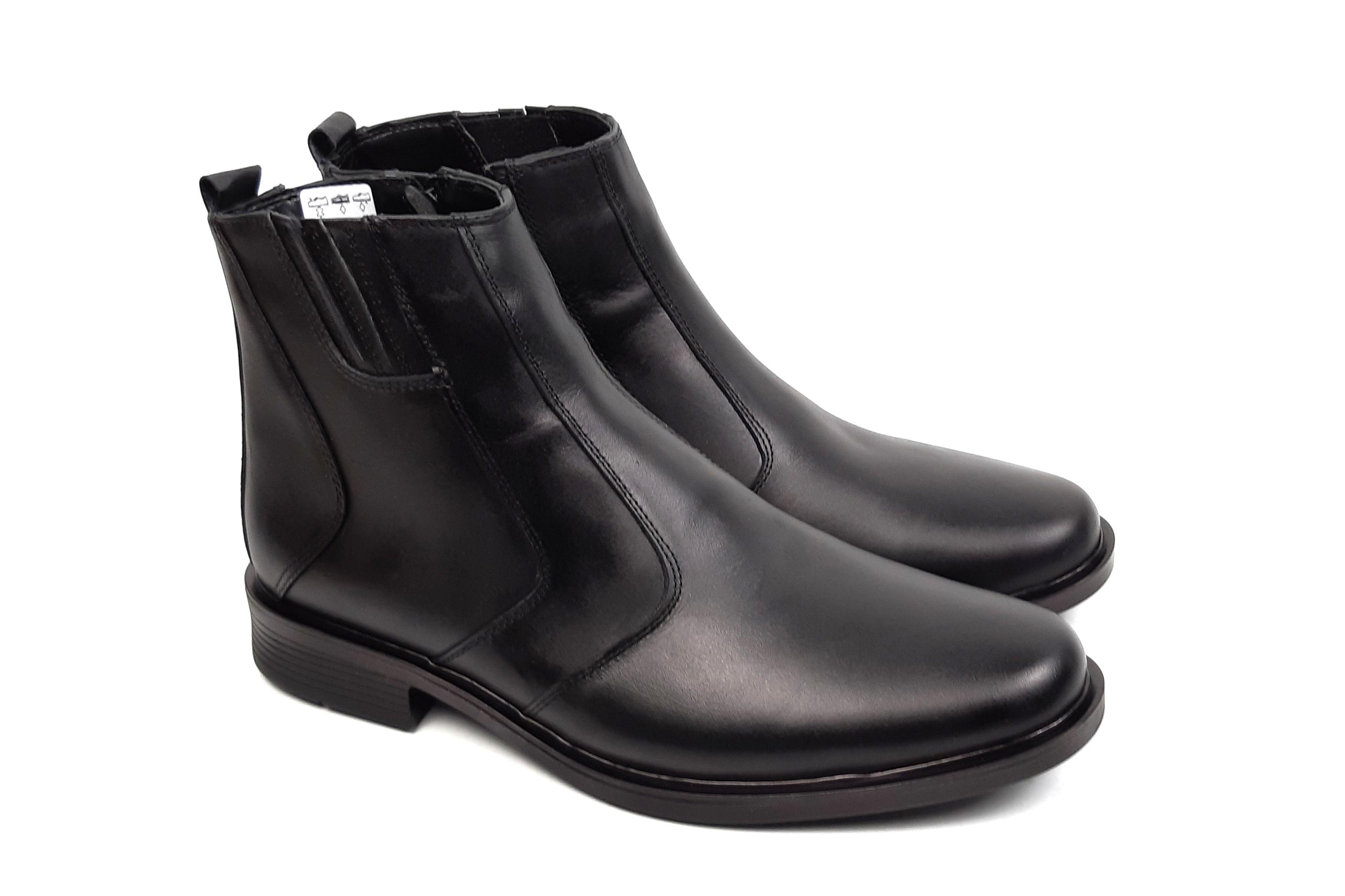 Ghete barbati casual negre - elegante, din piele naturala, cu fermoar - LYON30N