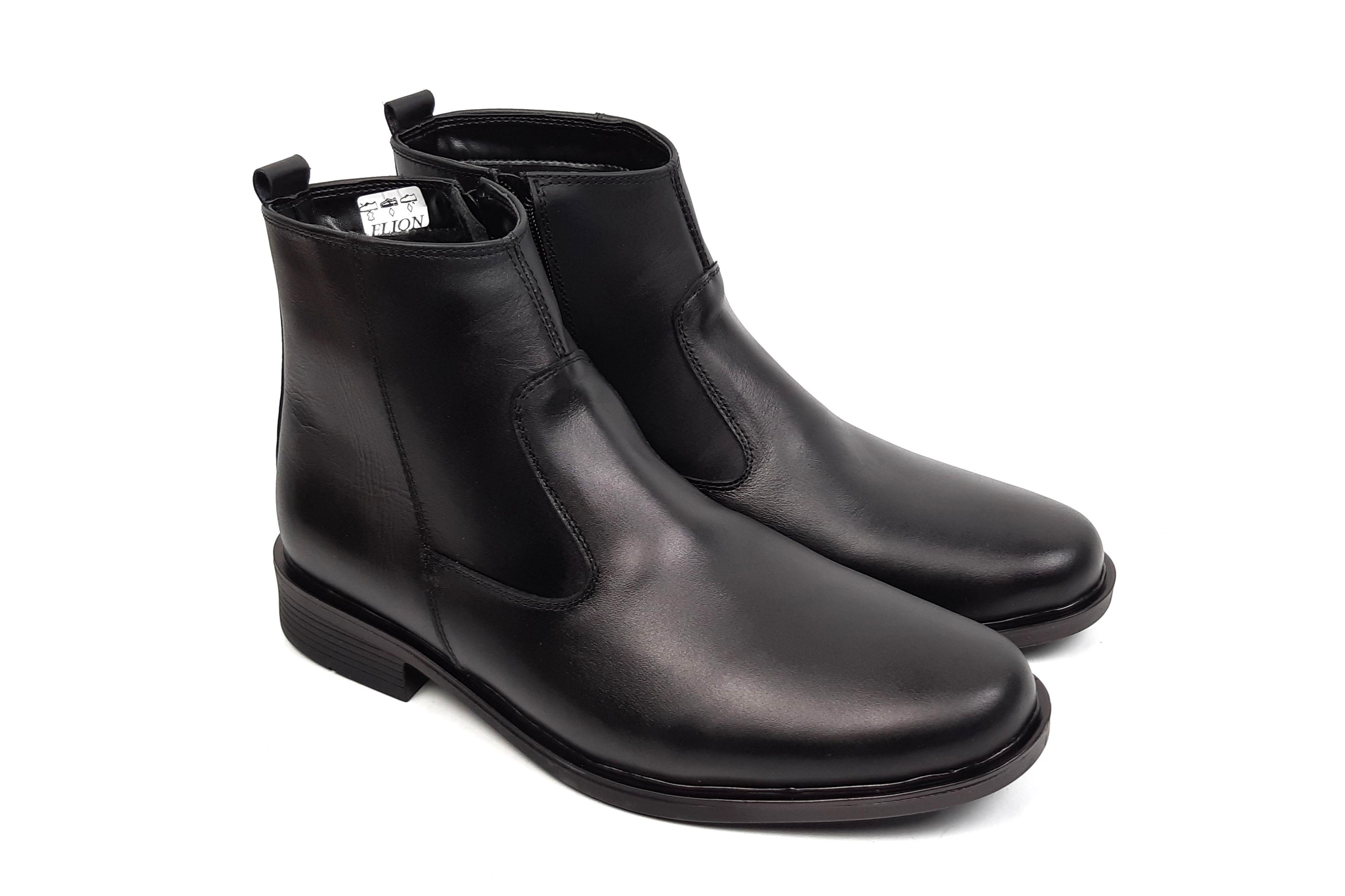Ghete barbati casual negre - elegante, din piele naturala, cu fermoar - LYON31N