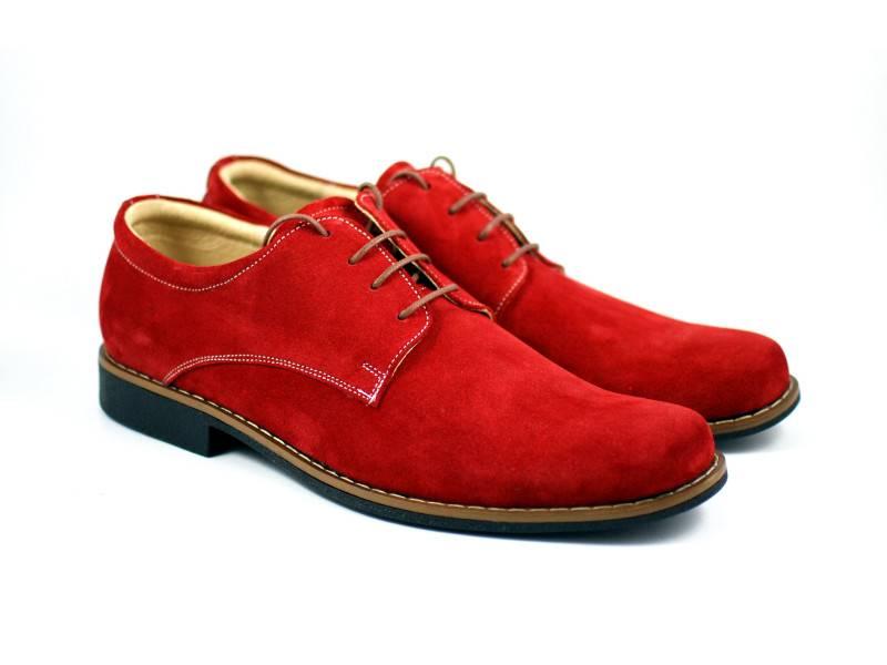Pantofi rosii barbati casual - eleganti din piele naturala - Model CARLO R