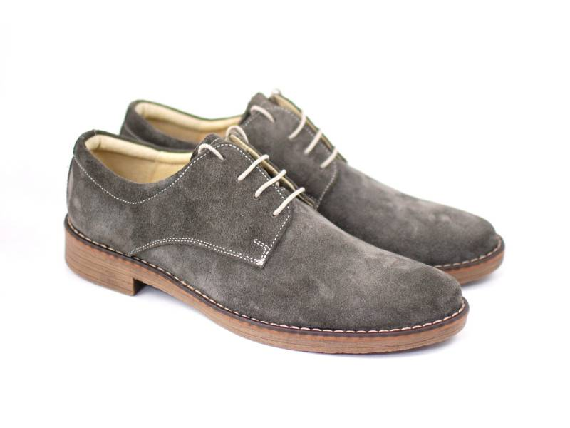 Pantofi gri barbati casual - eleganti din piele naturala intoarsa - CARLO G