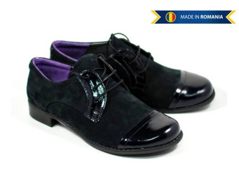 Pantofi dama piele intoarsa cu varf lacuit, casual - FOARTE COMOZI - Made in Romania!