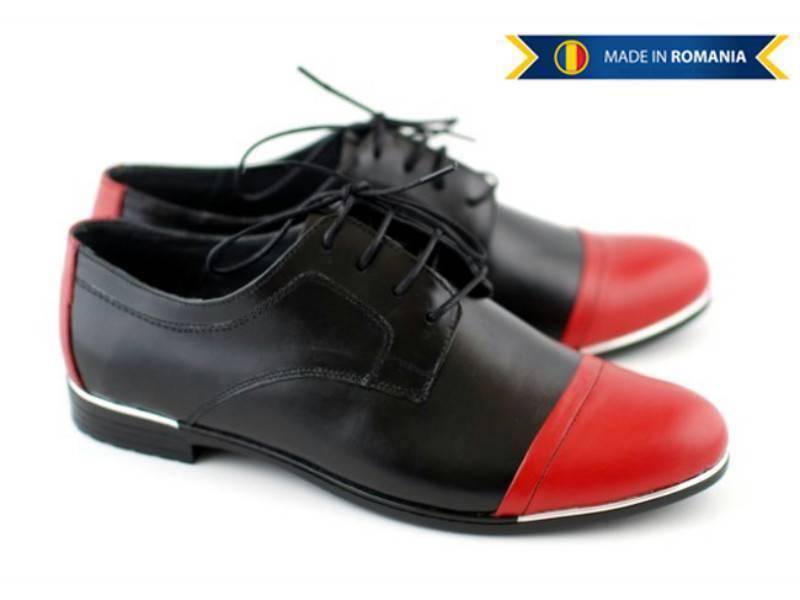 Pantofi dama piele naturala, casual (negru cu rosu) - FOARTE COMOZI - Made in Romania!