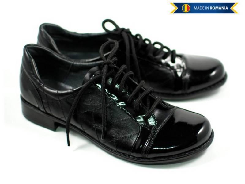 Pantofi dama casual din piele naturala cu siret - Made in Romania P53