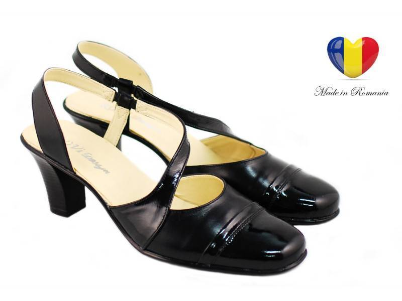 Sandale dama cu toc 5 cm din piele naturala - cod S2NLAC
