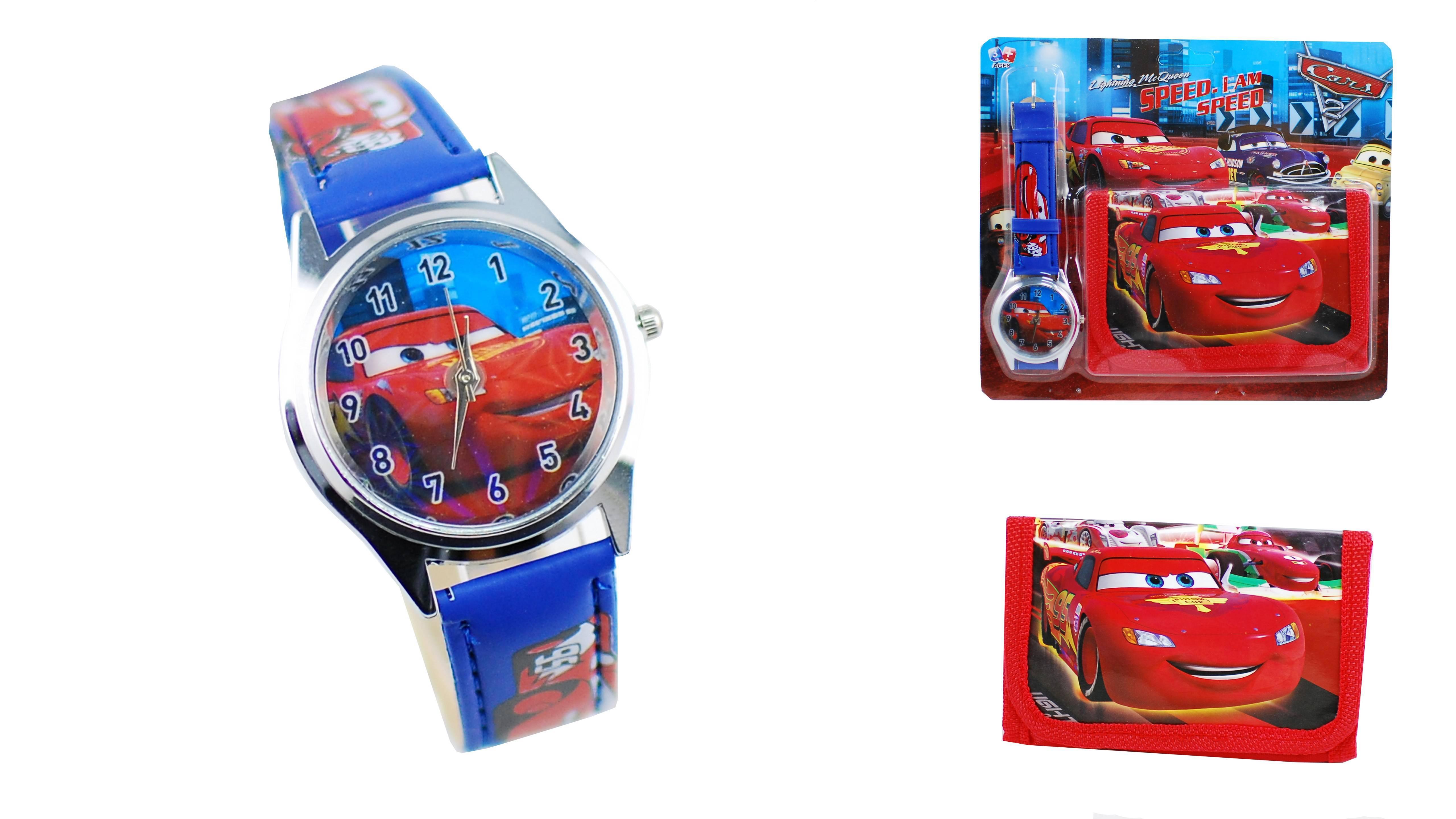 Set ceas pentru copii CARS / Ceas baieti + Portofel Fulger Mcqueen din desene animate
