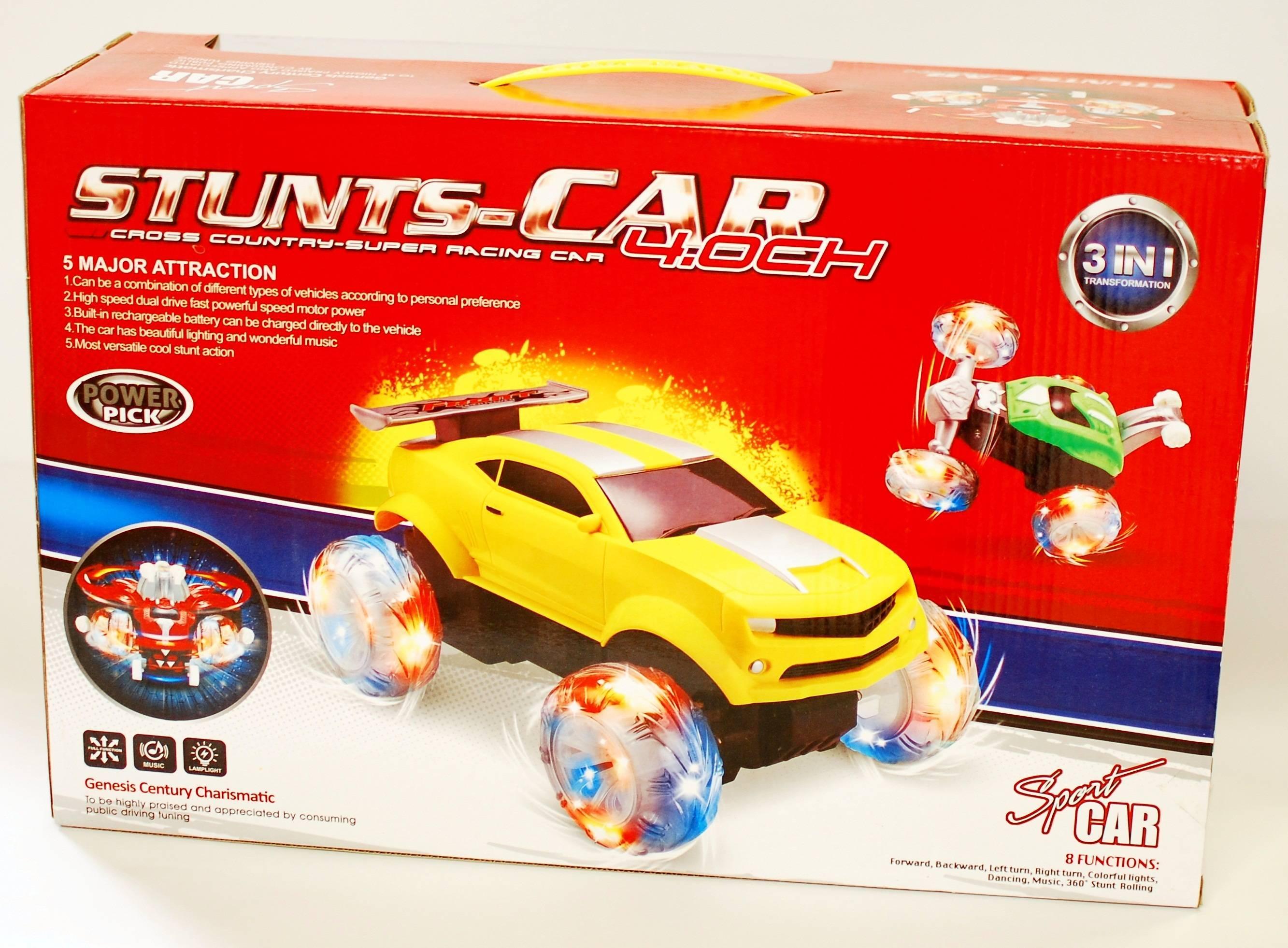 Masina Stunt sport cu telecomanda - Model 3 in 1 de jucarie cu sunete si lumini