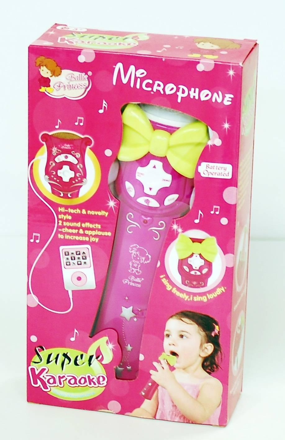 Microfon roz de jucarie - suport mp3 cu sunet de aplauze