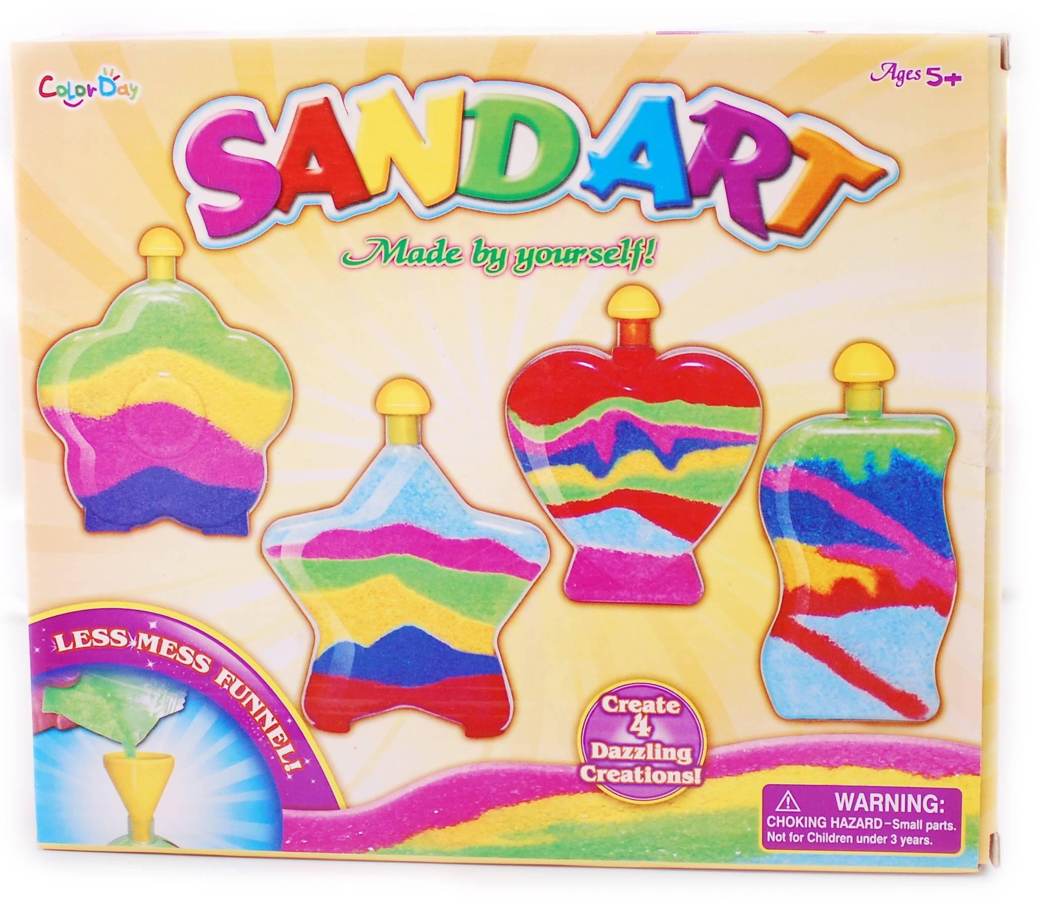 Set 4 sticlute cu nisip pentru decorat - jucarie creativ educativa