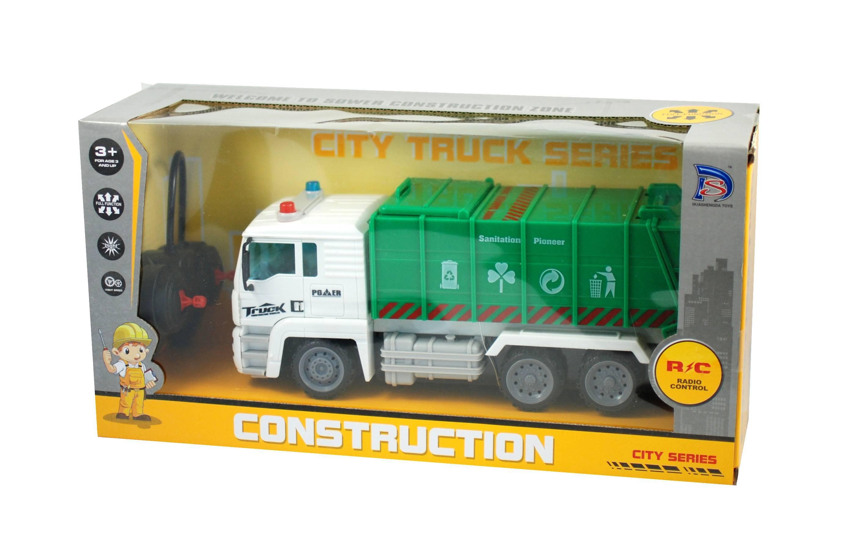 Masina de gunoi cu lumini, radio comanda si acumulatori - Masinuta de jucarie