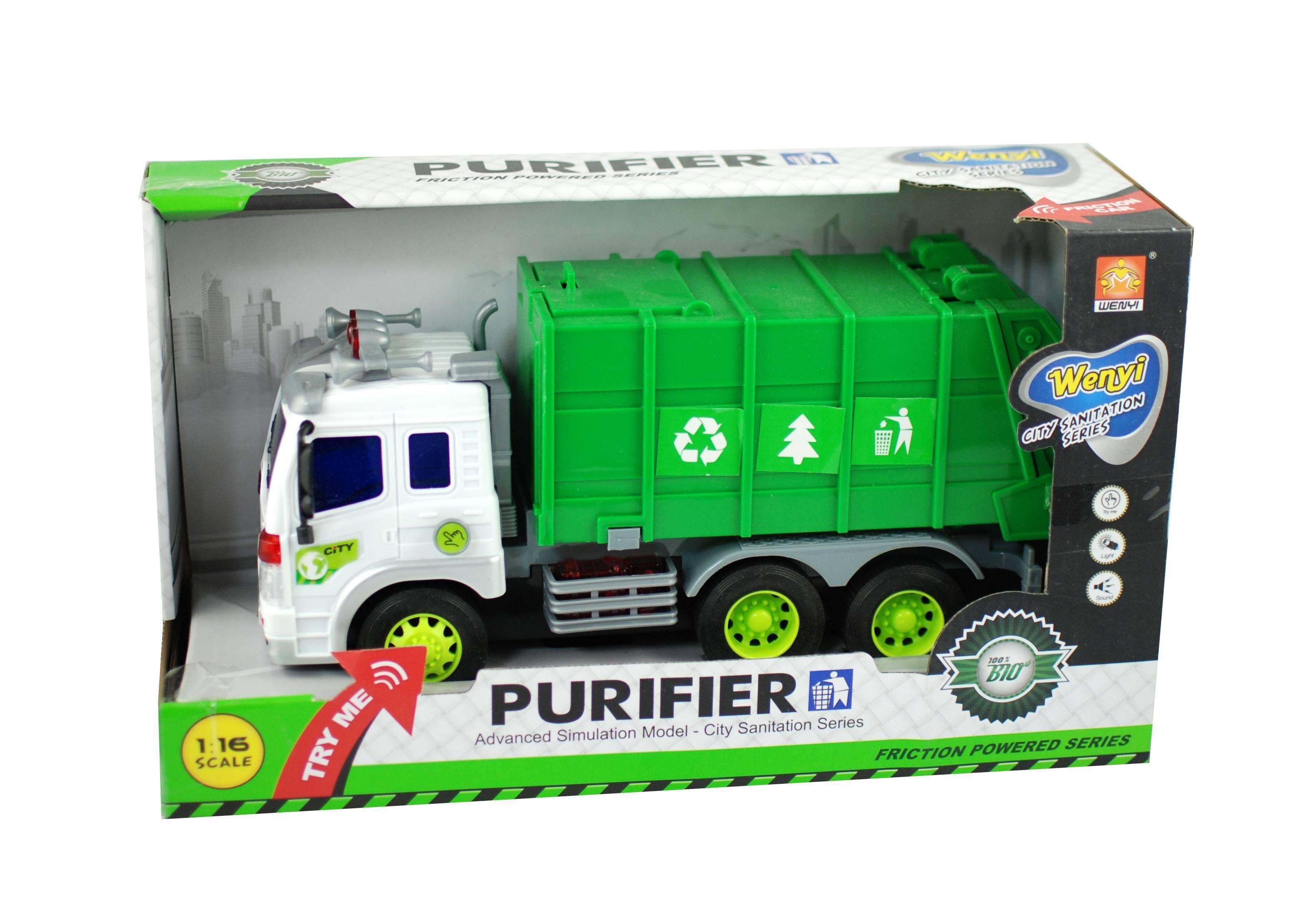 Masina de gunoi cu sunete si lumini, jucarie cu baterii incluse