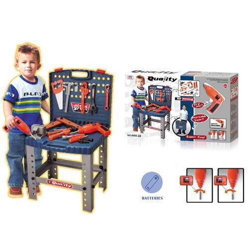 Banc de scule copii cu bormasina electrica de jucarie