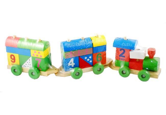 Jucarie creativa din lemn - Trenulet cu vagoane si forme si cifre