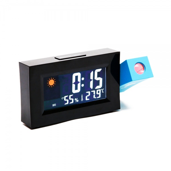 Ceas cu proiectie, data, alarma si statie meteo de interior - 8290
