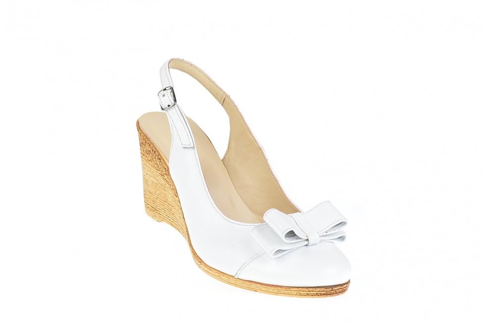 Pantofi dama albi din piele naturala, cu platforme de 8cm - Made in Romania