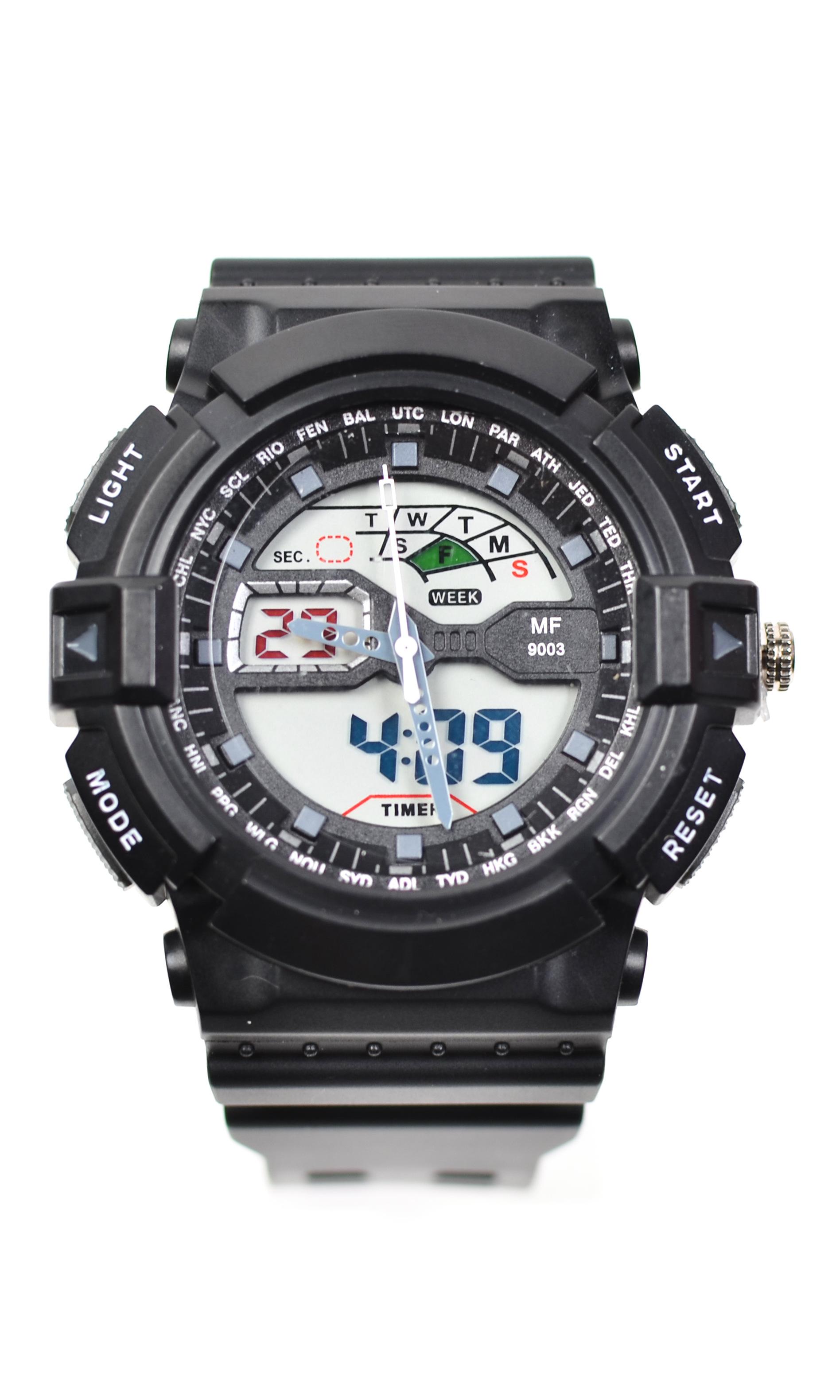 Ceas de mana pentru barbati, cu sistem Dual Time, negru - MF9003TN